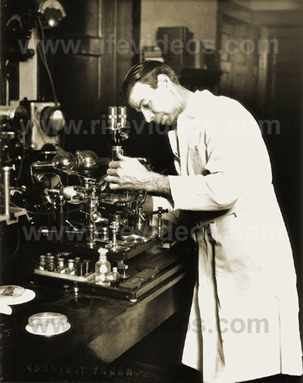 Dr. Rife with Ray tube and Microscope