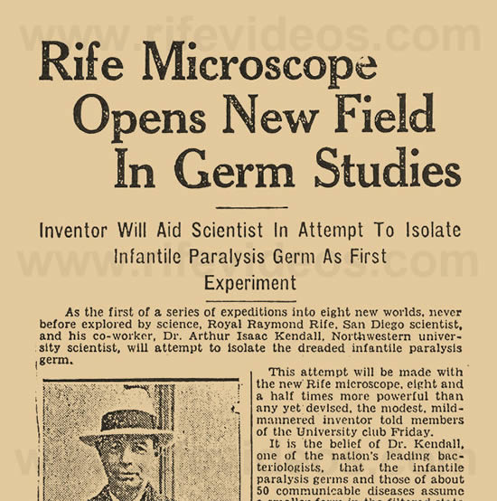 Rife Microscope Newspaper Article